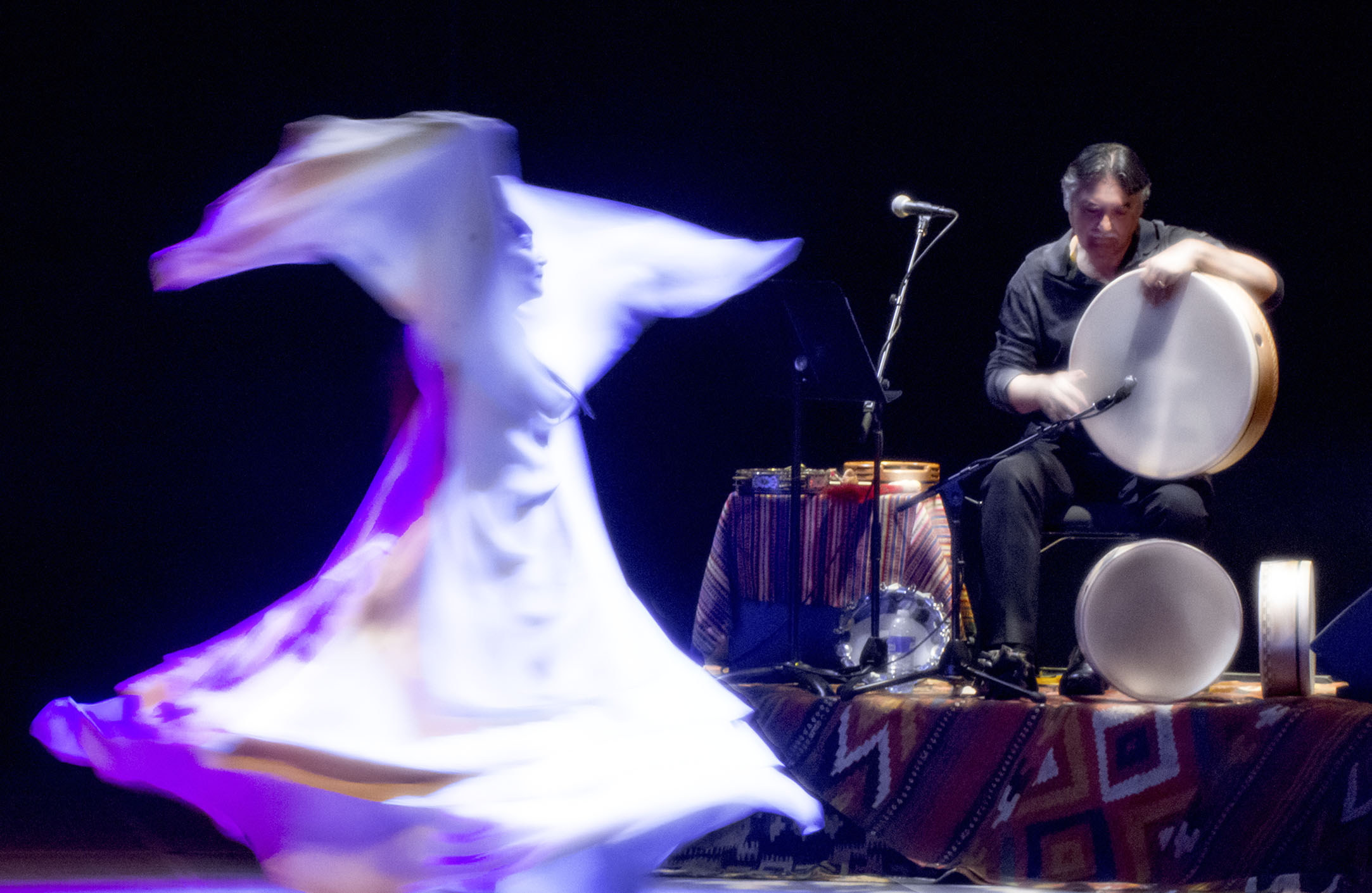 Rumi Concert - Zuleikha whirling with Glen Velez on frame drum